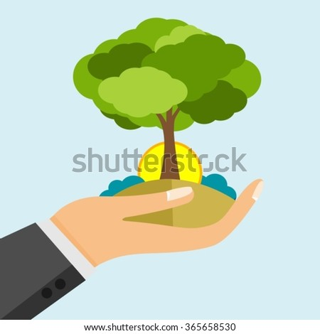 Open Hand Holding Earth And Green Tree With Sunset - stock vector