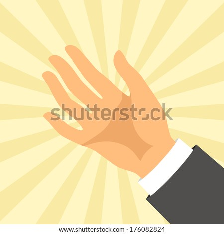 Open hand in flat design style. - stock vector