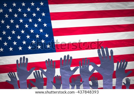 Open hand raised, multi purpose concept, USA United States of America flag painted - isolated on white background art