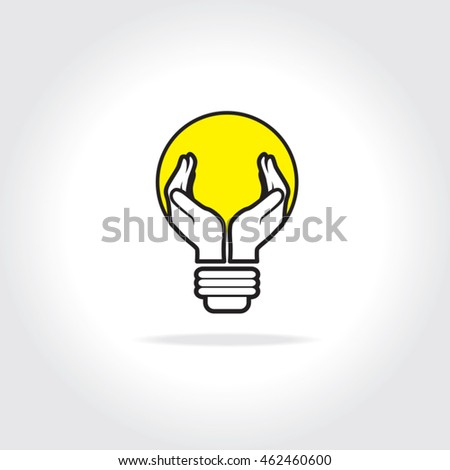 Open hands cupped to form shape of light bulb. Concept for electricity. Caring about clean power and alternative energy sources.