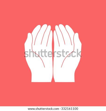 Open hands icon - stock vector