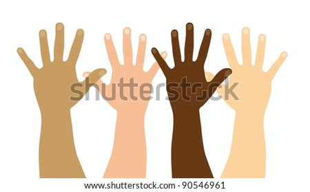open hands isolated over white background. vector illustration - stock vector