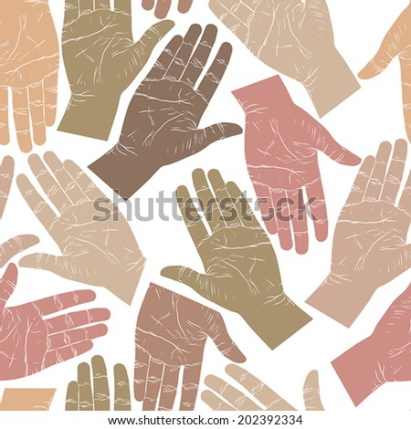 Open hands searching each other to shake seamless pattern, vector background for wallpapers, textile or other designs.