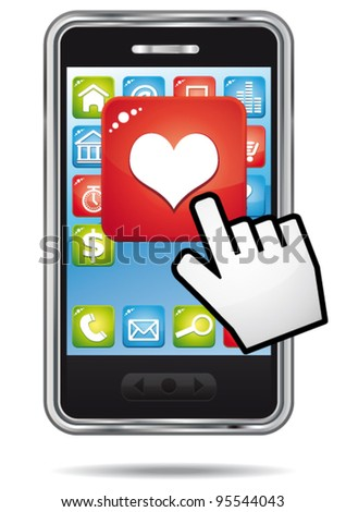 Open heart application on a a smartphone with hand cursor. vector icon.