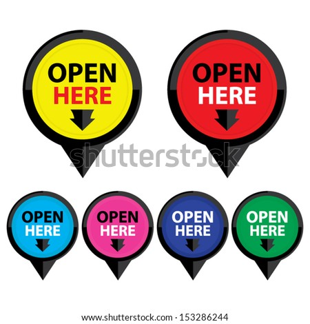 Open here sticker, label, symbol, sign, icon colorful set. - stock vector