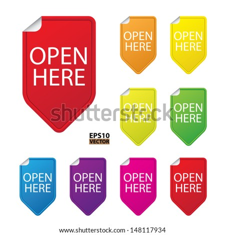 Open here tag,colorful tag on white background. -eps10 vector - stock vector