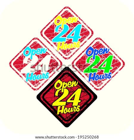 open 24 hour symbol - stock vector