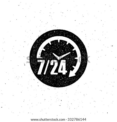 open 24 hours a day and 7 days a week vintage letterpress label design. vector illustration - stock vector