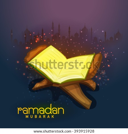 Open Islamic Religious Book Quran Shareef on mosque silhouetted shiny background for Holy Month of Muslim Community, Ramadan Mubarak celebration. - stock vector