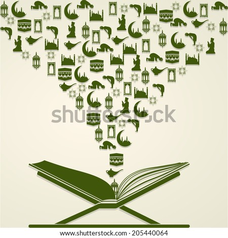 Open islamic religious book Quran Shareef with traditional ornaments on beige background for Eid Mubarak celebrations.  - stock vector
