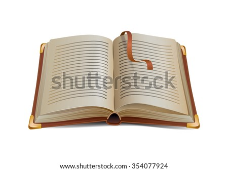 open leather diary with a bookmark - stock vector