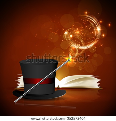 Open magic book, magic hat and wand with bright lights. - stock vector