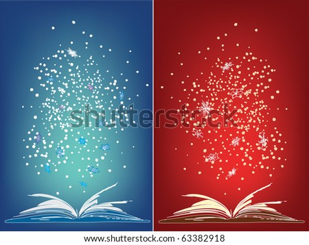 Open magic book with flying snowflakes