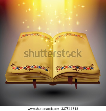 Open magic book with the light and sparkles. EPS 10. Transparent objects used only for light effects and drop shadow. Vector Illustration - stock vector