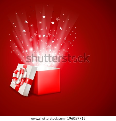 Open magic gift box with shine