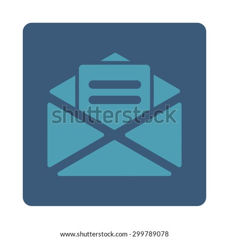 Open mail icon. Vector style is cyan and blue colors, flat rounded square button on a white background. - stock vector