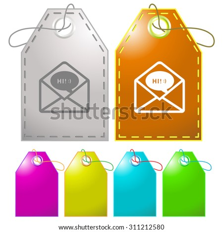 open mail with chat. Vector tags. - stock vector