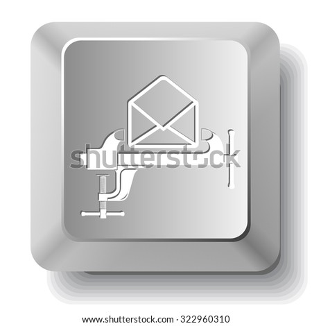 open mail with clamp. Vector computer key. - stock vector