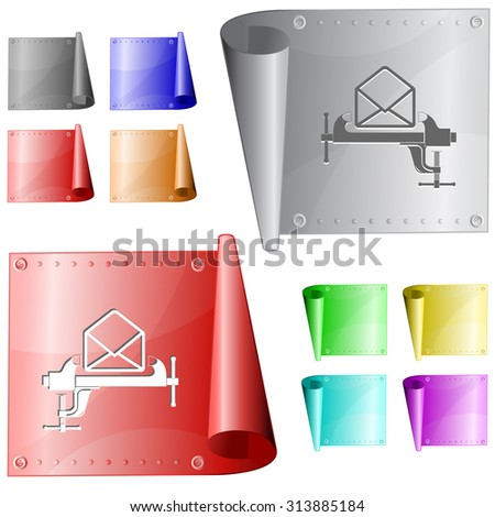 open mail with clamp. Vector metal surface. - stock vector