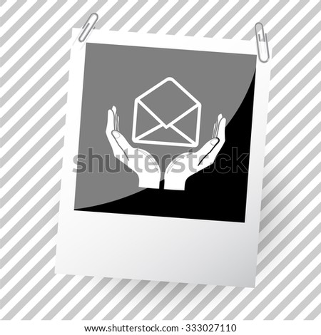 open mail with hands. Photo frame. Vector icon. - stock vector
