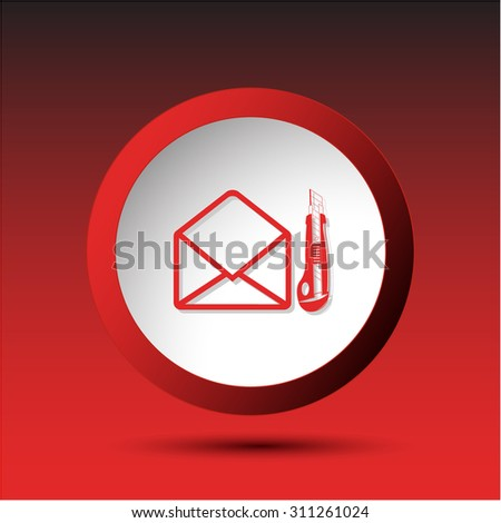 open mail with knife. Plastic button. Vector illustration. - stock vector