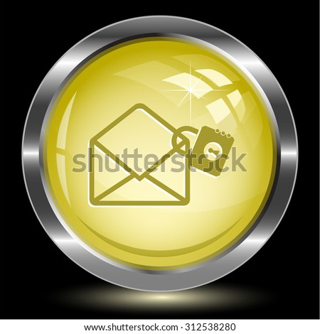 open mail with lock. Internet button. Vector illustration. - stock vector