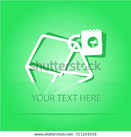 open mail with lock. Paper sticker as bookmark. Vector illustration. Eps10. - stock vector