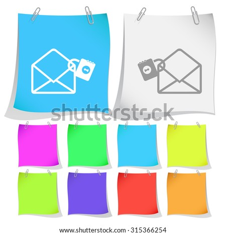 open mail with lock. Vector note papers. - stock vector