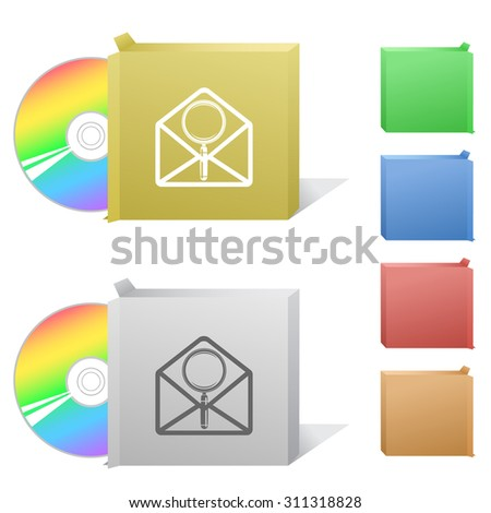 open mail with magnifying glass. Box with compact disc. - stock vector