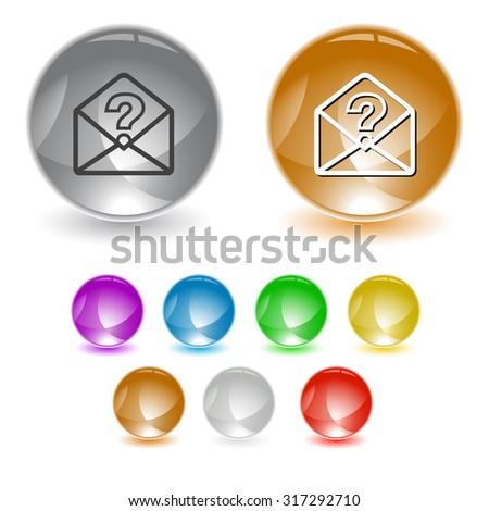 open mail with query sign. Vector interface element. - stock vector