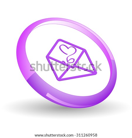 open mail with tulip. Vector icon. - stock vector