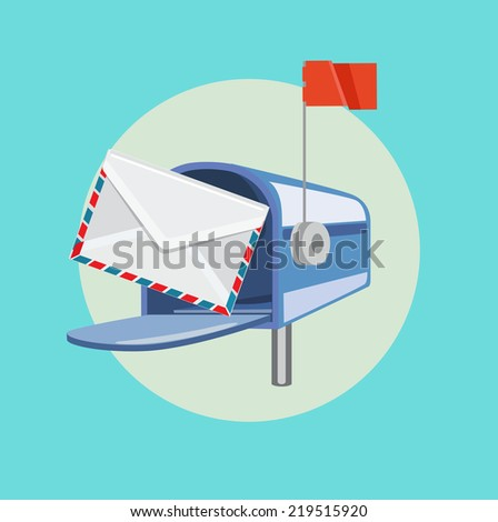 open mailbox with envelope flat design vector icon - stock vector