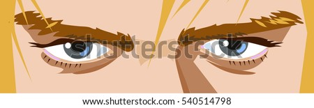 Open male blue eyes with blond hair. Vector illustration