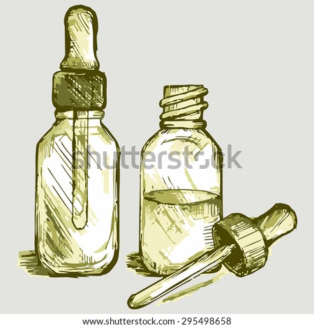 Open medicine bottle with a dropper. Vector Image - stock vector