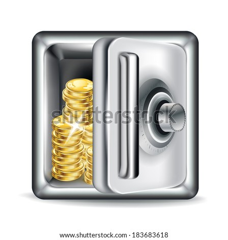 open metal safe with golden coins isolated on white