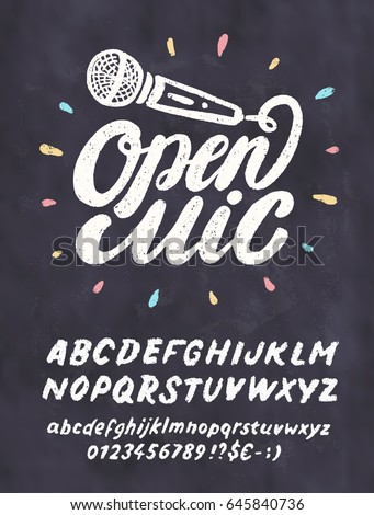 Open Mic Chalkboard Sign Template Stock Vector Shutterstock - Chalkboard sign template