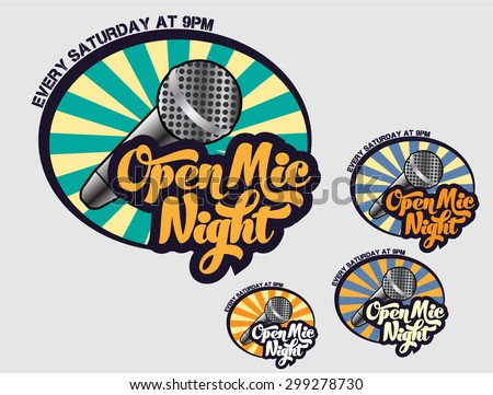 Open Mic Night- Logo for event, comedy club, bar, pub, nightclub, venue, cafe, stand up show, karaoke place, anything related to entertainment and show business  - stock vector