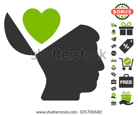 Open Mind Love Heart icon with free bonus clip art. Vector illustration style is flat iconic symbols, eco green and gray colors, white background.