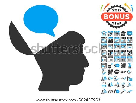Open Mind Opinion pictograph with bonus 2017 new year clip art. Vector illustration style is flat iconic symbols,modern colors, rounded edges.