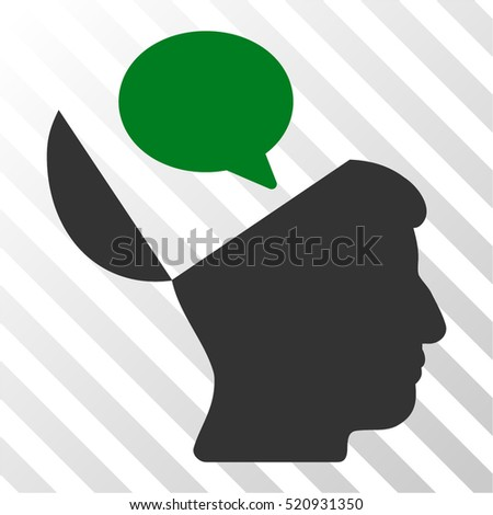 Open Mind Opinion vector pictograph. Illustration style is flat iconic bicolor green and gray symbol on a hatch transparent background.