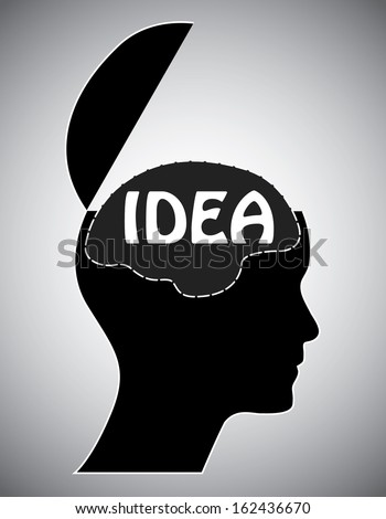 Open mind with idea text. Abstract easy to edit idea concept with black head silhouette and brain. Easy to edit vector illustration. - stock vector