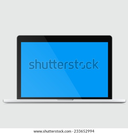 open modern laptop with the blue empty screen ready for any information - stock vector