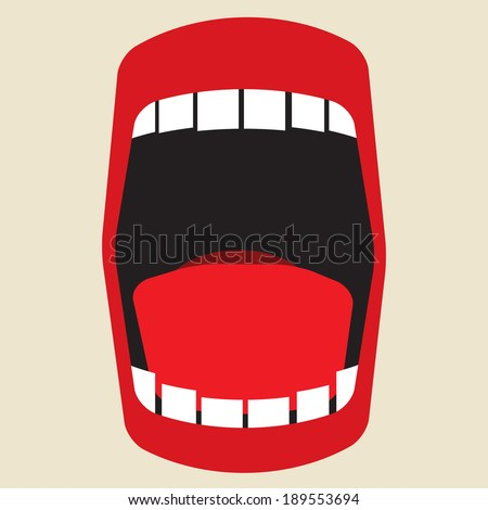 open mouth shouting - stock vector