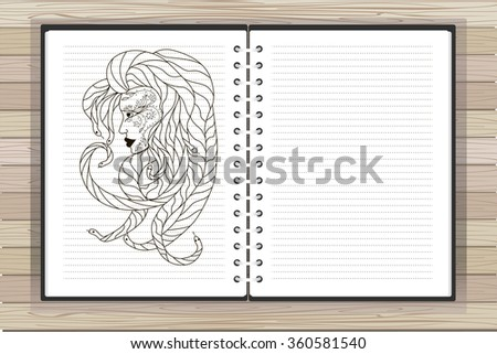 Open notebook with graphic image of the head of Medusa and place for text.Vector. EPS10 - stock vector