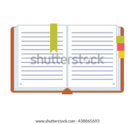 Open notebook with lined pages. Open notebook vector. Open blank notebook illustration. Open notebook pages. Open notepad with tab. Color icon.