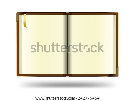 Open notebook with white background