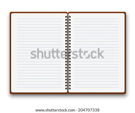 Open notebook with white lined  pages, vector illustration - stock vector