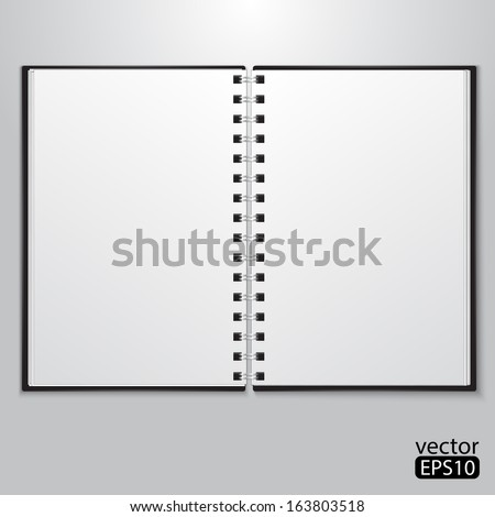 Open notebook with white page - stock vector