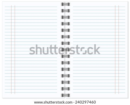 Open notebook with white page vector illustration