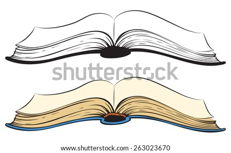 Open obsolete scrapbook with flying leafs. Side view close-up. Vector monochrome freehand ink drawn backdrop sketchy in art scribble antiquity style pen on paper with space for text - stock vector